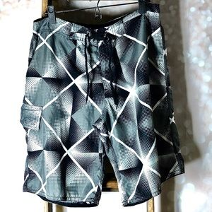 Point Zero Men's Black Grey Swim Board Shorts